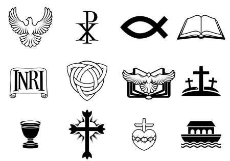 simbolos religiosos: Un conjunto de iconos y símbolos cristianos, como paloma, Chi Ro, símbolo del pez, biblia, cartel INRI, Christogram trinidad, cruz, copa de comunión, el arca y más