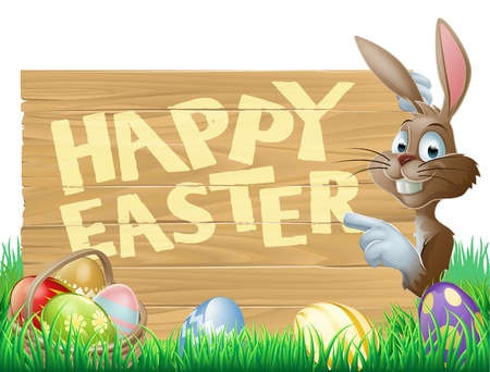 Isolated illustration of a cute happy Easter Bunny pointing at a message reading Happy Easter Stock Vector - 18389226