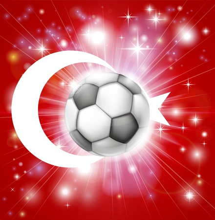 fotball: Flag of Turkey soccer background with pyrotechnic or light burst and soccer football ball in the centre Illustration