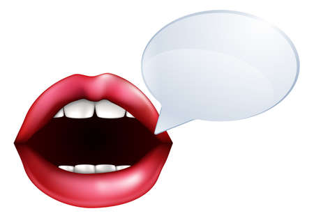 An illustration of open mouth or lips talking with a speech bubble for the words Vector