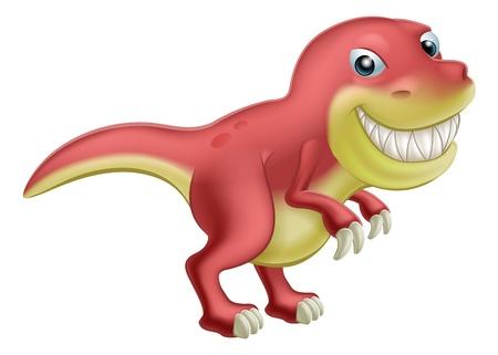 t rex: Een leuke cartoon T Rex dinosaurus met een grote toothy glimlach Stock Illustratie