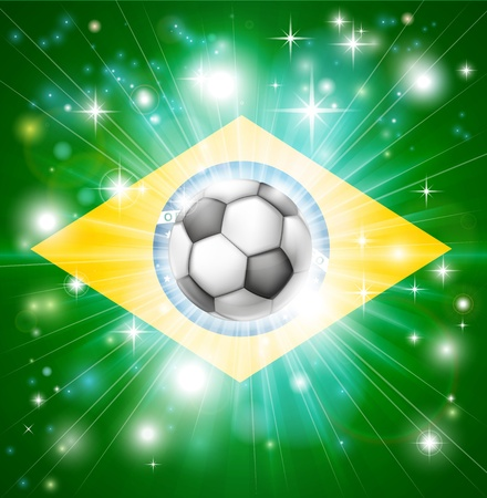 socer: Flag of Brazil soccer background with pyrotechnic or light burst and soccer football ball in the centre