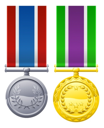 Decorations or medal design elements illustrations, one gold with white, purple and green ribbon, one silver with blue white and red ribbon Vector