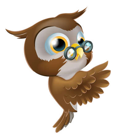 owl illustration: An illustration of a cute cartoon wise owl character with glasses peeking round from behind a sign and pointing or showing what it says Illustration