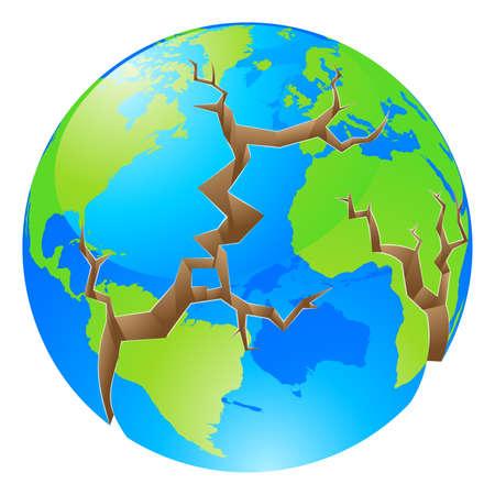 землетрясение: Концептуальная иллюстрация концепции мирового кризиса. Глобус с большими трещинами открытия вокруг него, может ли концепция экологических проблем или аналогичный.