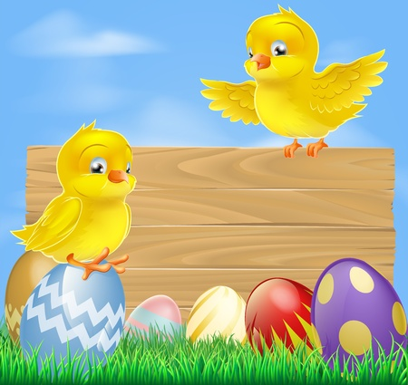 An illustration of cute little yellow cartoon Easter chicks and wooden sign Vector