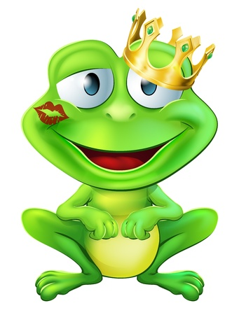 An illustration of a cute frog cartoon character wearing a gold crown with a red lipstick mark on his lips form a kiss Vector