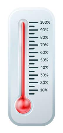 An illustration of a thermometer like those used  to illustrate goals or targets, or just to tell the temperature Vector
