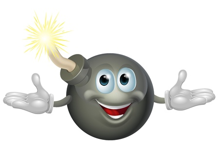An illustration of a cute happy bomb cartoon character Vector