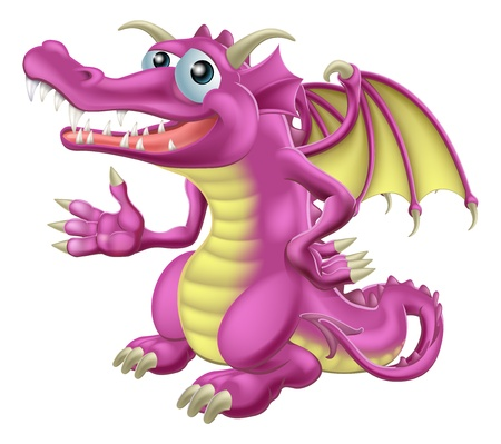 Illustration of a cute happy purple dragon character mascot Vector