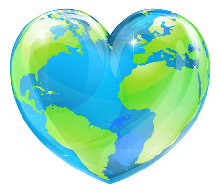 cartoon earth: A world globe in the shape of a heart symbol  Concept for loving travel, or loving the world and caring for the environment or similar Illustration