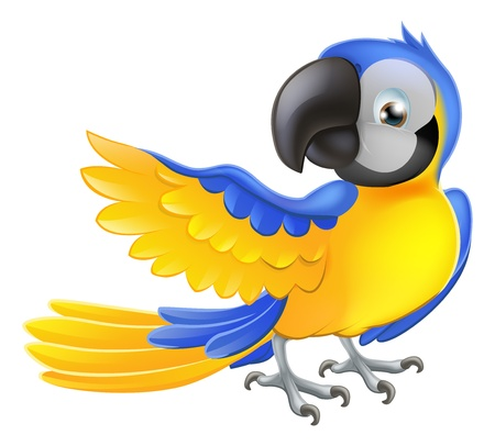 Illustration of a happy blue and yellow cartoon macaw parrot pointing with his wing Vector