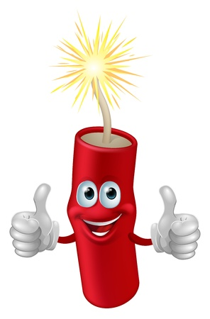 firecracker: Illustration of a cartoon firework, firecracker or dynamite character