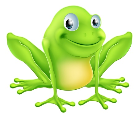 An illustration of a cartoon frog character sitting and smiling Illustration