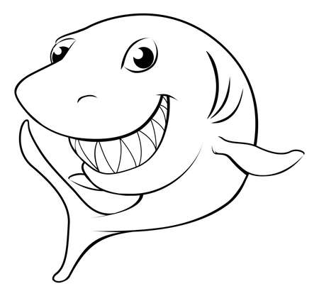shark: Black and white illustration of a happy cartoon shark