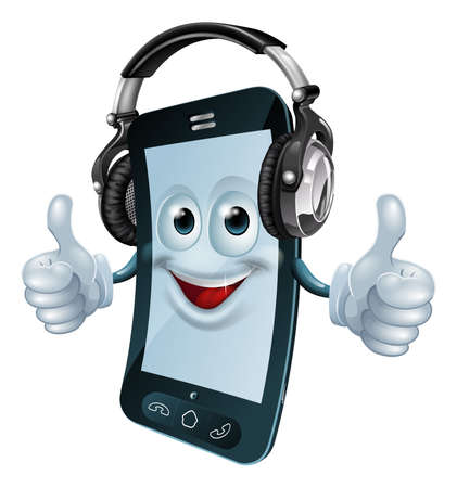 head phones: A mobile phone cartoon man with dj headphones on giving the thumbs up. Concept for a music phone app or similar.