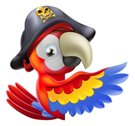 pirate cartoon: A drawing of a cartoon parrot pirate character leaning round a sign or banner and pointing with his or her wing
