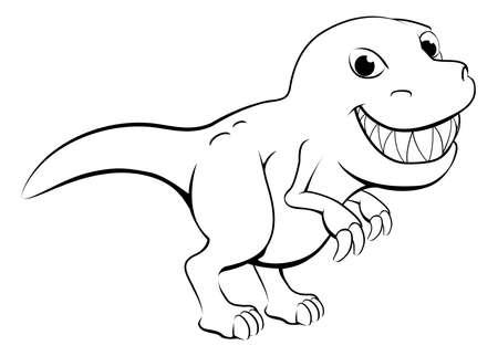Black and white illustration of a happy cartoon t rex dinosaur