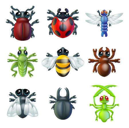 A series set of colourful insect bug icons, including ladybird mantis dragonfly bee ant grasshopper fly and other beetles Vector