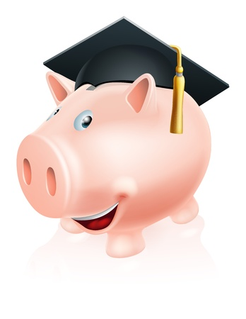fee: Illustration of a happy academic education savings piggy bank with mortar board convocation  cap on. Concept for saving money for study or similar.