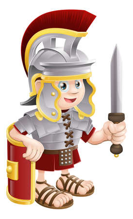cascos romanos: Ilustración de un soldado romano feliz lindo que sostiene una espada y un escudo Vectores