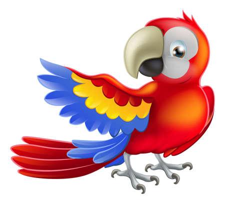 loro: Ilustración de un feliz loro guacamayo rojo de dibujos animados señalando con el ala
