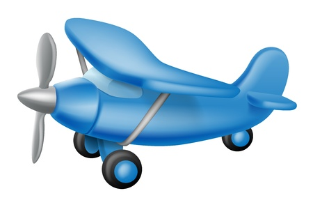 toy plane: An illustration of a cute little cartoon blue prop plane, perhaps a child toy Illustration