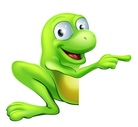 An illustration of a cute green happy frog character peeking round a sign or banner pointing at it Vector