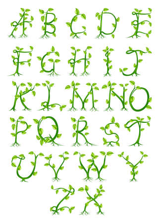 novelty: A complete decorative alphabet made up of letters growing from green plants Illustration