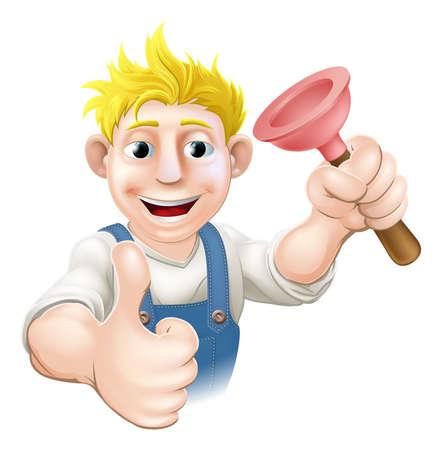 handy man: L'illustrazione di un idraulico cartone animato o fognature, ragazzo con un lavandino o toilette stantuffo dando un pollice in alto Vettoriali