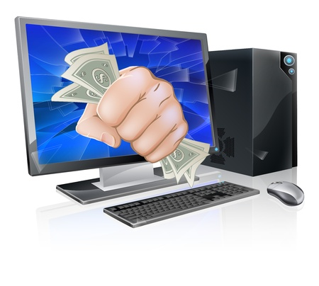 breaking out: An illustration of a desktop computer with a fist full of dollars breaking out of the screen
