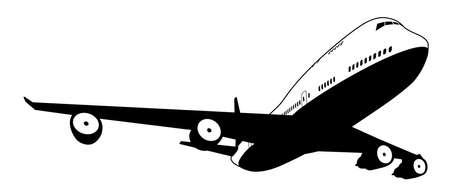 boeing 747: Un bianco e nero illustrazione di un jet commerciale stilizzato