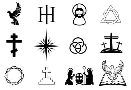 simbolos religiosos: Un grupo de cristianos signos y símbolos religiosos