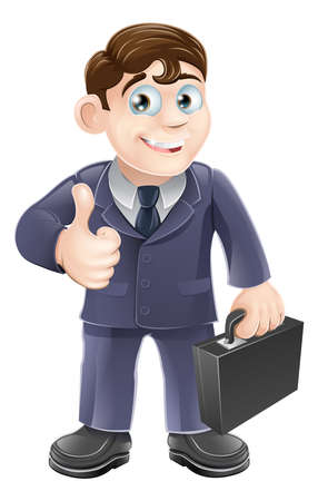 nice guy: A happy smiling cartoon business character giving the thumbs up Illustration