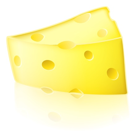 Illustration of a slice of cartoon Swiss type yellow cheese with holes in it Vector