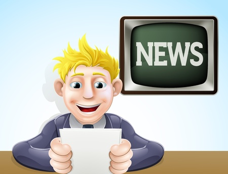 anchor man: An illustration of a cartoon television news reader holding his notes in front of a screen reading news