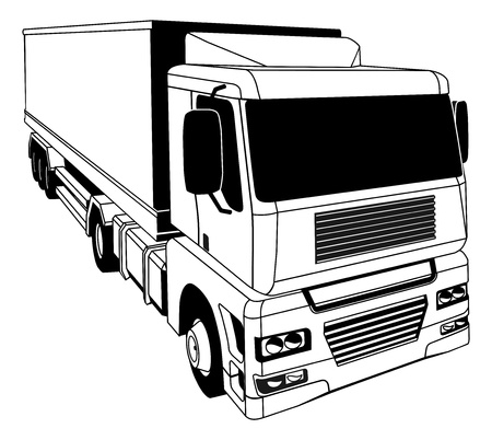 trucker: A black and white illustration of a stylised semi truck