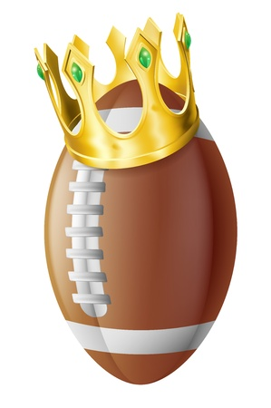 An illustration of an American football ball wearing a golden crown. Vector