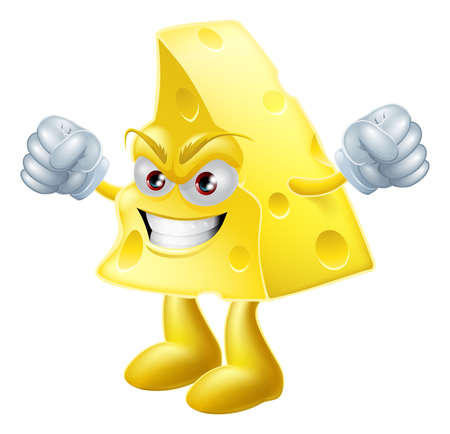 food fight: An illustration of a very angry looking cartoon cheese man character with hands in fists