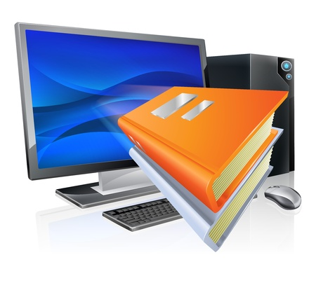 could: An education e-learning computer book concept, book icons flying out of a desktop pc computer  Could also relate to ebooks as well as online learning