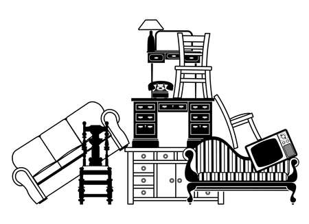 miror: Illustration of a pile of furniture  Could be used for home insurance related or house clearance and moving home