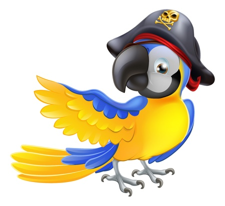 sombrero pirata: Un loro azul de dibujos animados con un sombrero de pirata y parche en el ojo se�alando con su brazo