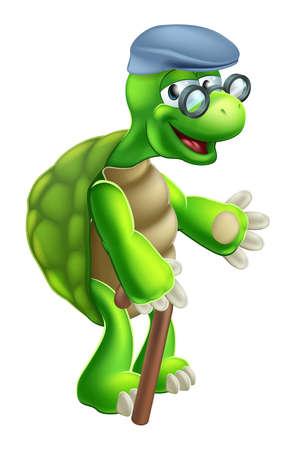 tortuga: Una ilustraci�n de una tortuga de mayor edad avanzada o personaje de dibujos animados tortuga Vectores