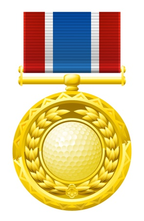 A gold winners medal with a laurel wreath and golf ball illustration Stock Vector - 18974241