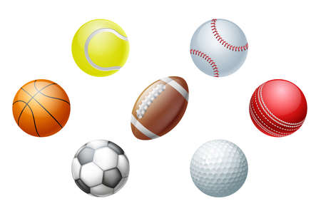 baseball ball: Illustrations of sports ball icons, including cricket ball, football and soccer ball, baseball ball and tennis ball, golf ball and basket ball