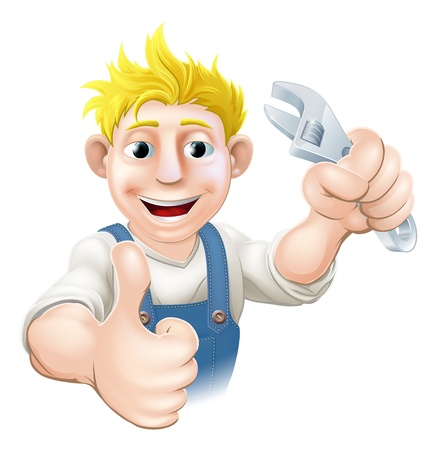 Illustration of a cartoon mechanic or plumber holding an adjustable wrench or spanner. Vector