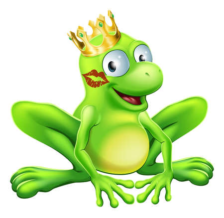 Du musst viele Frösche küssen, um einen Prinzen oder eine Prinzessin zu finden. Ein Frosch mit einer Krone mit rotem Lippenstift auf seine oder ihre Wange