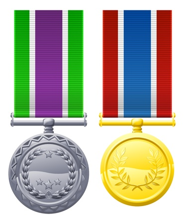 valor: A drawing of two military style chest medals or decorations
