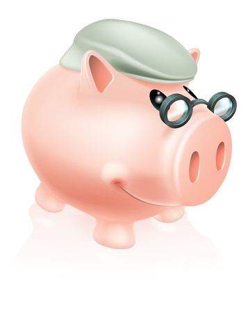 pensioen: Pensioensparen spaarpot concept van een spaarvarken spaarpot in hogere's pet en bril.