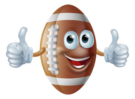 An illustration of a cartoon American football ball man giving a double thumbs up. Vector